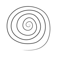 Hand drawn black spiral on white background