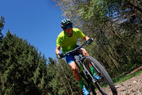 Mountainbike racer on a training course