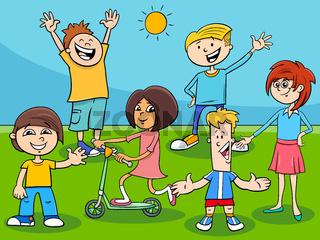 happy kids and teens cartoon characters group