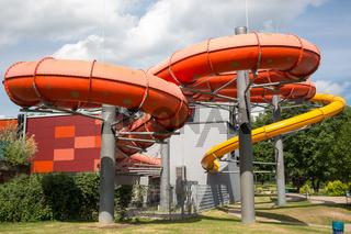 Water slide tube at public swimming pool