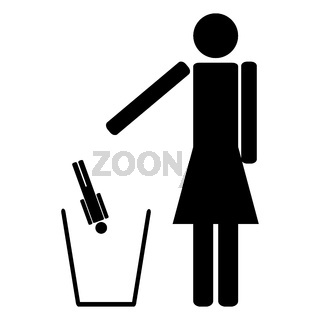 Woman throws out in a recycle bin of the man