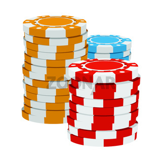 Red, yellow and blue casino tokens cartoon icon