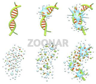 DNA Helix Breaking Cartoon Set