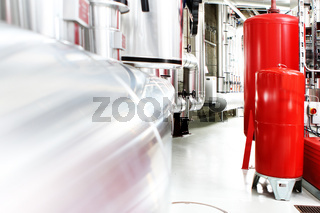 chrome pipes in heating and AC rooms in buildings of factories a