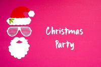 Santa Claus Paper Mask, Pink Background, Christmas Party