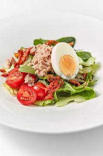 Close up delicious tuna salad with fresh organic vegetables.