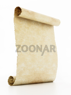 Old blank parchment isolated on white background. 3D illustration