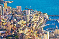 Monaco and Monte Carlo cityscape and coastline colorful view from above