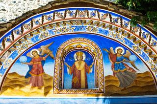Wall painting at the entrance of Rila Monastery, Bulgaria