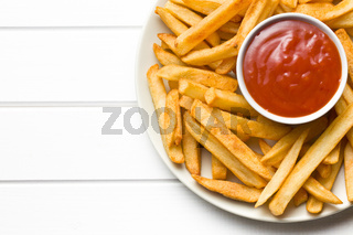 french fries with ketchup on plate