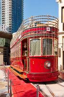 Red retro tram