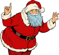 Santa Claus attention gesture. New year and Christmas