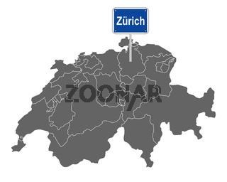Landkarte der Schweiz mit Ortsschild von Zürich - Map of Switzerland with road sign of Zürich