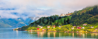 Norway fjord traditional village landscape