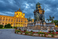 The Natural History Museum with the statue of Maria Therea in Vienna, Austria, at twilight