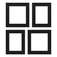four black frames isolated on white background