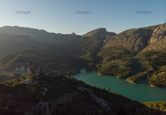 Aerial photography Guadalest Reservoir. Spain