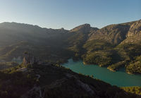 Aerial photography Guadalest Reservoir. Spain