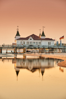 morning time at baltic sea beach and sight Ahlbeck pier in sunrise