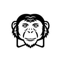 Noble Chimpanzee Chimp Monkey Primate or Ape Wearing Bow Tie Mascot Black and White