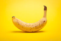 Ripe bananas isolated on white background mirrored reflection. Health, food, vegan concept
