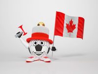 Soccer character fan supporting Canada