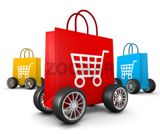 Three Colorful Shopping Bags with Cart Symbol and Wheels on White Background 3D Illustration