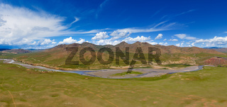 Aerial view of Orkhon valley Mongolia