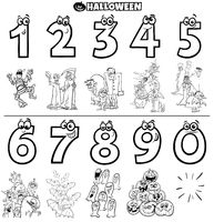 educational numbers set with Halloween characters color book