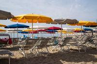 Varazze beach and its typical sun umbrellas