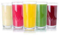 Fruit juice smoothies fruits orange drinks collection glass isolated on white