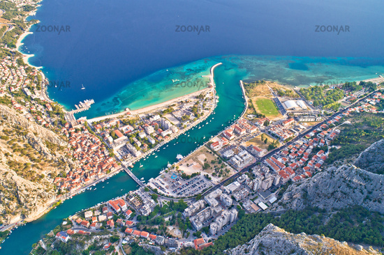 Cetina river mouth and town of Omis aerial view
