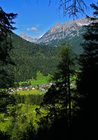 Lech valley, Austria, Tyrol, view to the mountain hochvogel