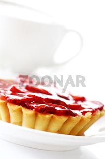Fresh strawberry cake and cup of coffee