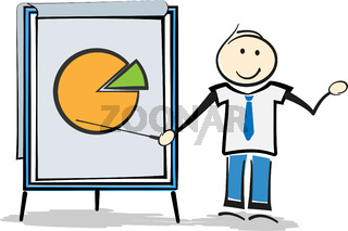 stickman teacher or businessman standing beside whiteboard giving presentation
