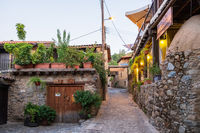 Picturesque narrow streets of old Kakopetria village in the Troodos mountains in Cyprus