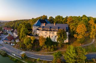 Luftbild Schloss Stiege Stadt Oberharz am Brocken Harz