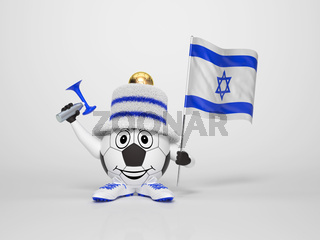 Soccer character fan supporting Israel