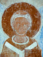 Romanesque fresco of an archbishop in Finja church, Sweden