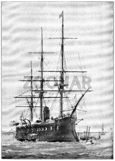 Richelieu (1868) - a wooden-hulled central battery ironclad built for the French Navy. Illustration of the 19th century. Germany. White background.