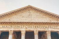 Pantheon facade close up at the Piazza della Rotonda in Rome