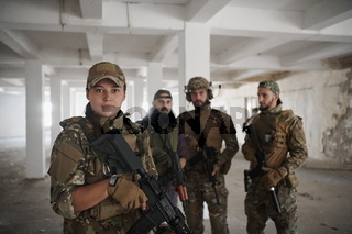 soldier squad team portrait in urban environment