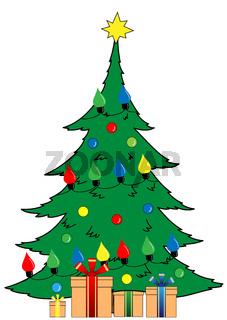 Big Christmas tree with garland and gifts