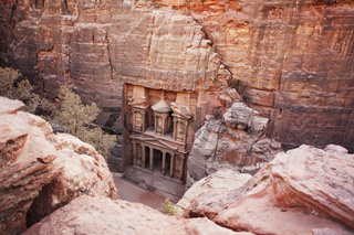 Elevated view of the Treasury at Petra