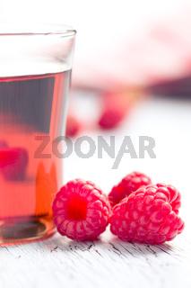 raspberries and juice