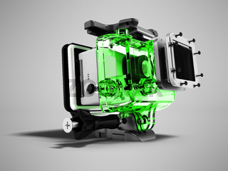 Modern green camera for extreme relaxation dismantled 3D render on gray background with shadow