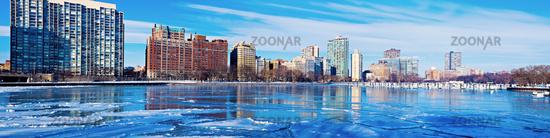 Frozen marina in Chicago
