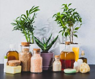 Zero waste and organic homemade spa cosmetics close up