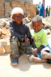 African Children in a Tornado damaged Township