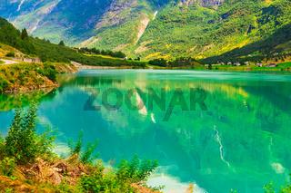 Norway fjord and glacier landscape